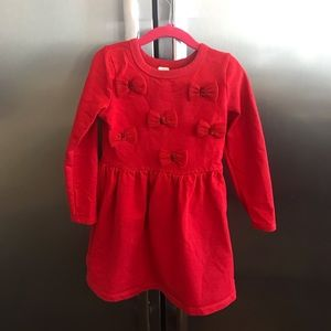 Carters red knit dress girls size 5T with bows